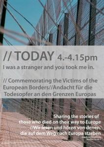 Am 8.5.2015 findet um 15 Uhr in der Versöhnungskappelle an der Bernauer Straße eine Andacht zum Gedenken an die Todesopfer der Grenzen Europas statt.
